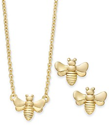 "Kitsch Gold-Tone Bee Pendant Necklace & Stud Earrings Set, 17"" + 1"" extender"