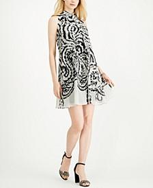 Petite Printed-Chiffon Trapeze Dress