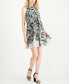Robbie Bee Petite Printed-Chiffon Trapeze Dress