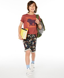 Epic Threads Big Boys Walking Lion T-Shirt & Stretch Floral Twill Shorts, Created for Macy's