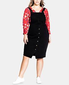 City Chic Trendy Plus Size Cotton Denim Pinafore Midi Dress
