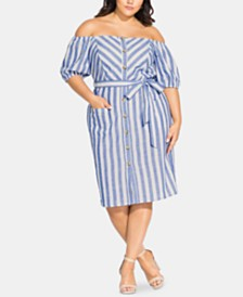 City Chic Trendy Plus Size Graphic Flow Dress