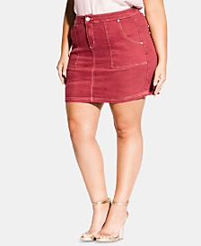 City Chic Trendy Plus Size Breezy Denim Mini Skirt
