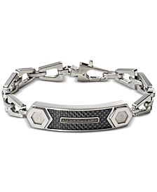 Men's Black Diamond Accent Chain Link ID Bracelet in Stainless Steel