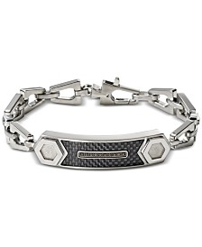 Bulova Men's Black Diamond Accent Chain Link ID Bracelet in Stainless Steel
