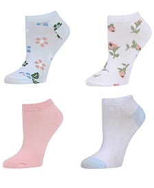 SOCK TALK Ladies' Low Cut Socks 4 PACK FLORAL
