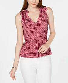 Michael Michael Kors Petite Printed Tie-Shoulder Top