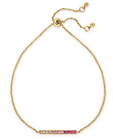 Kitsch Gold-Tone Ombré Pavé Bar Bolo Bracelet