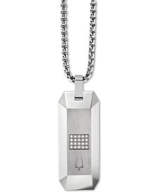 "Men's Diamond Dog Tag Pendant Necklace (1/10 ct. t.w.) in Stainless Steel, 26"" + 2"" Extender"