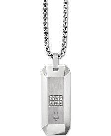 "Bulova Men's Diamond Dog Tag Pendant Necklace (1/10 ct. t.w.) in Stainless Steel, 26"" + 2"" Extender"