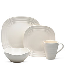 Mikasa Dinnerware, Swirl Square White Collection