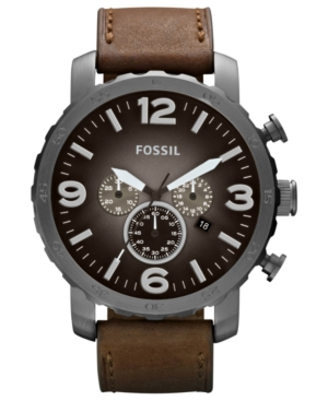 Fossil Men's Chronograph Nate Brown Leather Strap Watch 50mm JR1424