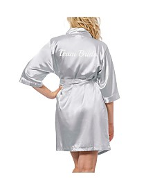 Cathy's Concepts Team Bride Silver Satin Robe