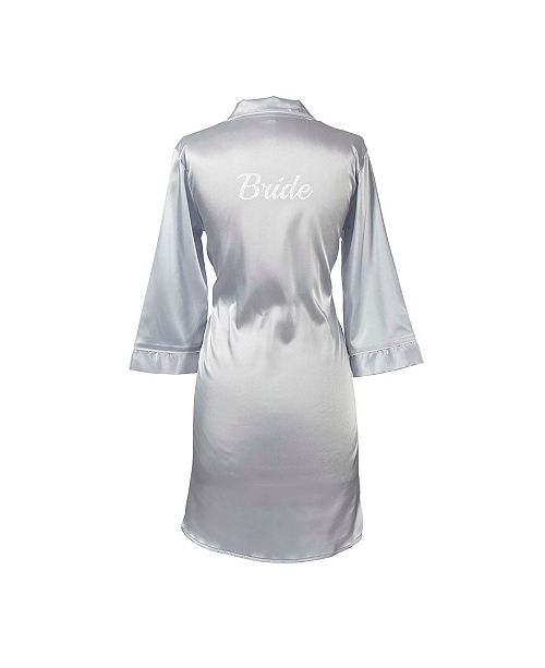 Cathy's Concepts Bride Silver Satin Night Shirt