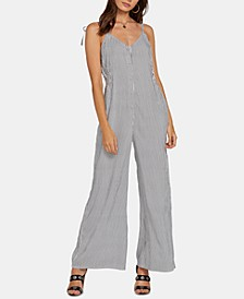 Juniors' Striped V-Back Jumpsuit
