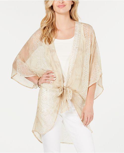 INC International Concepts I.N.C. Snake-Print Kimono, Created for Macy's