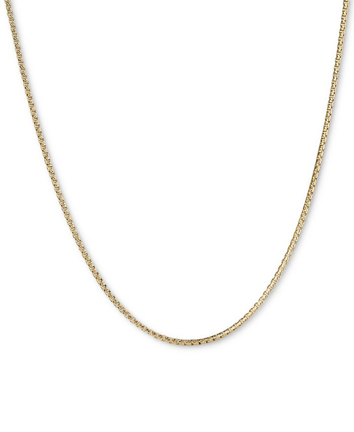 """Italian Gold - Textured Box Link 22"""" Chain Necklace in 14k Gold"""