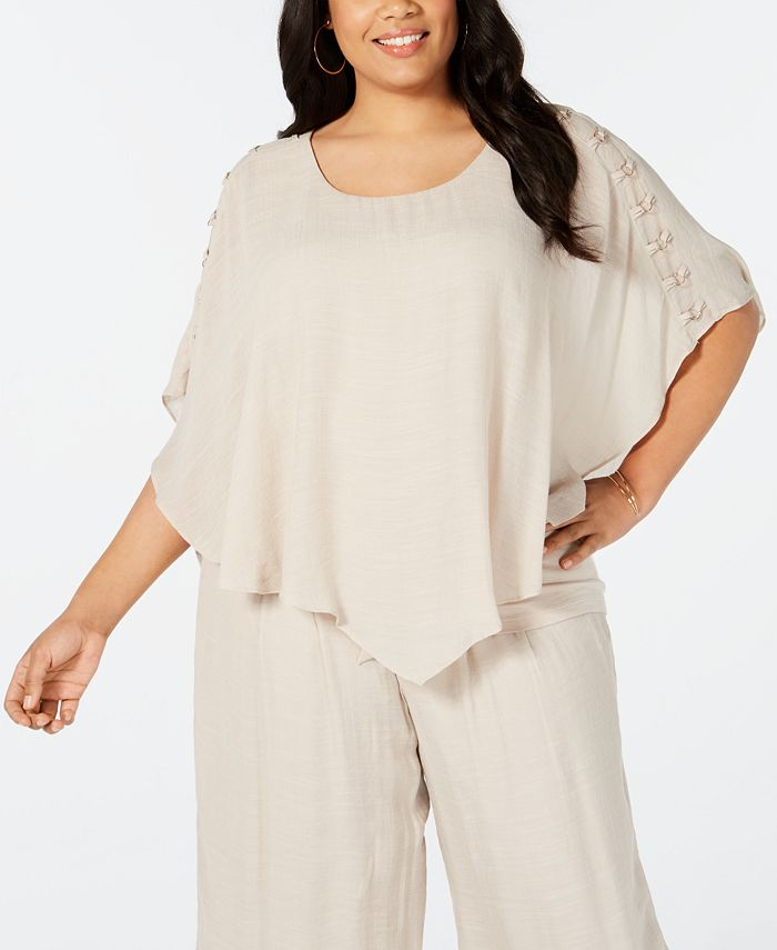JM Collection - Plus Size Embellished Poncho Top