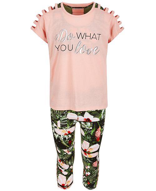 Ideology Big Girls Strappy T-Shirt, Sports Bra & Capri Leggings, Created for Macy's