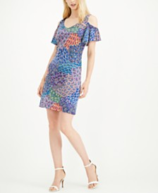 MSK Petite Cold-Shoulder Printed A-line Dress
