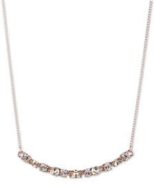 "Crystal Curved Bar Pendant Necklace, 16"" + 3"" extender"