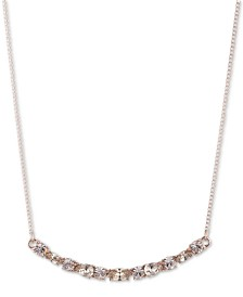 "Givenchy Crystal Curved Bar Pendant Necklace, 16"" + 3"" extender"