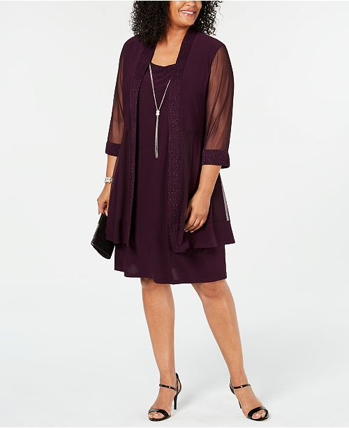 R & M Richards Plus Size Jacket & Necklace Dress