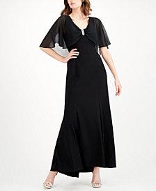 R & M Richards Embellished Capelet Gown