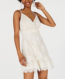 Juniors' Lace Faux-Wrap Dress