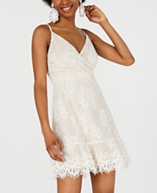 Speechless Juniors' Lace Faux-Wrap Dress