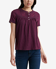 Lucky Brand Cotton Lace-Trim Henley Top