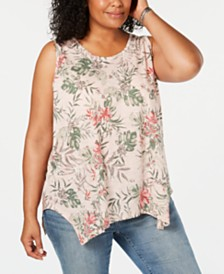 Style & Co Plus Size Handkerchief-Hem Tank Top, Created for Macy's