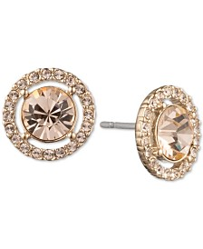 Givenchy Gold-Tone Pavé Crystal Button Earrings