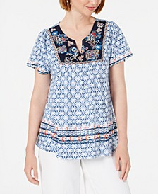 Printed Embroidered Top, Created for Macy's