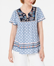 Style & Co Printed Embroidered Top, Created for Macy's