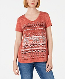Graphic V-Neck Top, Created for Macy's