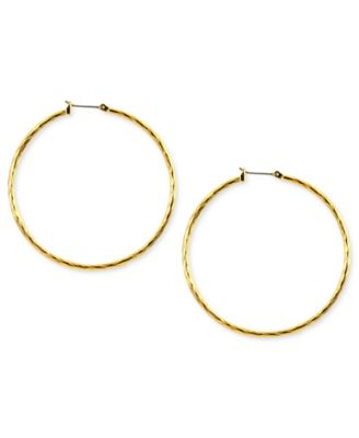 Image of Anne Klein Gold-Tone Glass Hoop Earrings