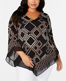 Alfani Plus Size Printed Chiffon-Hem Top, Created for Macy's