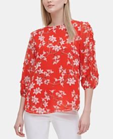 Calvin Klein Floral-Print Ruffle-Sleeve Top