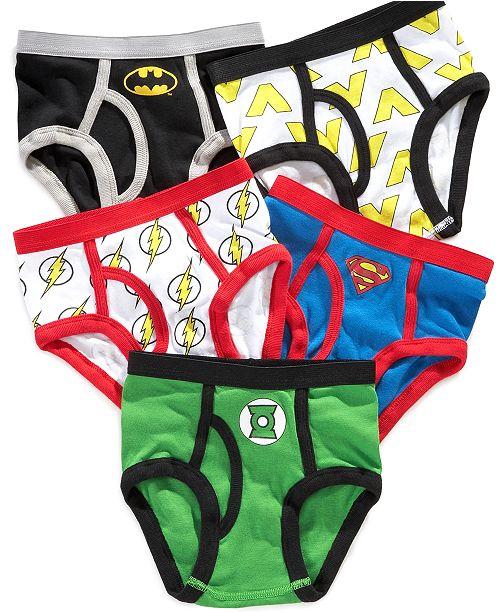 137ff0d63a5c6 DC Comics Justice League 5-Pk. Cotton Briefs, Little Boys & Big Boys ...