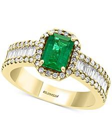 EFFY® Diamond (5/8 ct. t.w.) & Emerald (9/10 ct. t.w.) Ring in 14k Yellow Gold