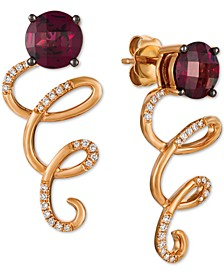 Raspberry Rhodolite (2-3/8 ct. t.w.) & Vanilla Diamond (1/8 ct. t.w.) Drop Earrings in 14k Rose Gold
