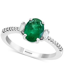 EFFY® Emerald (1-1/8 ct. t.w.) & Diamond (1/5 ct. t.w.) Ring in 14k White Gold