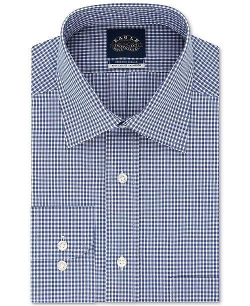 Eagle Men's Big & Tall Classic/Regular-Fit Non-Iron Stretch-Collar Check Dress Shirt