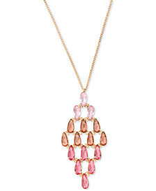 "Givenchy Gold-Tone Pink Crystal 24"" Pendant Necklace"