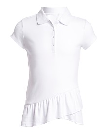 Nautica Big Girls Asymmetrical Ruffle Polo