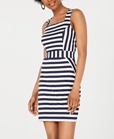 Be Bop Juniors' Striped Square-Neck Dress