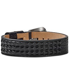 Bulova Men's Pyramid-Stud Leather Bracelet in Stainless Steel