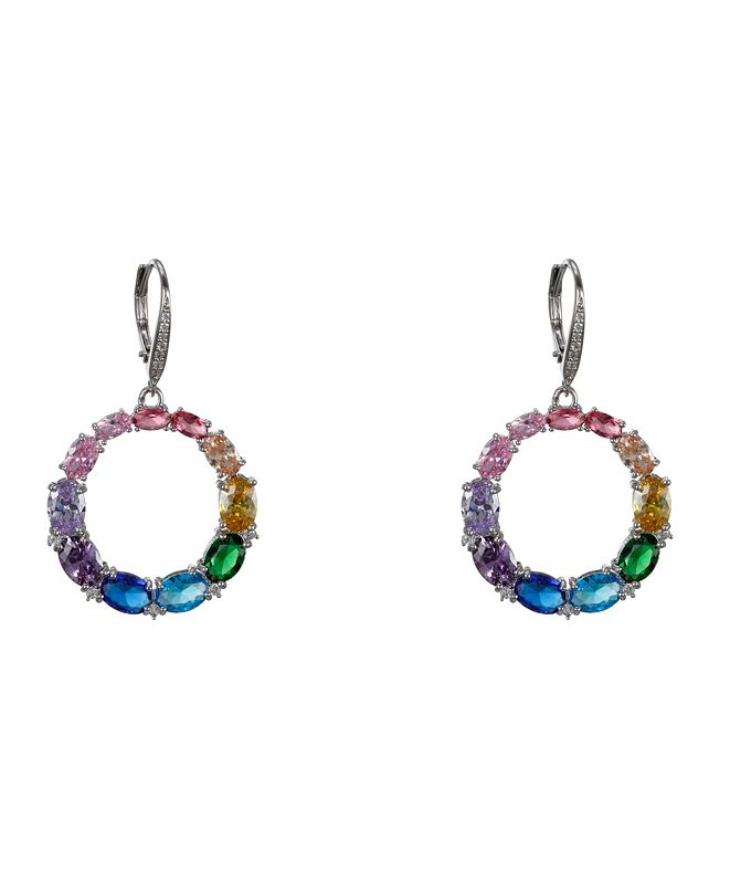 Nina Rainbow Frontal Medium Hoop Earrings