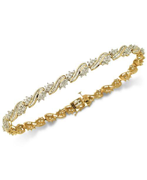 Macy's Diamond Cluster Link Bracelet (2 ct. t.w.) in 10k Gold